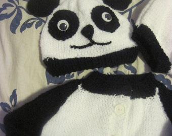 Custom hand knit/made Panda Baby set. Sweater, hat, booties, panties
