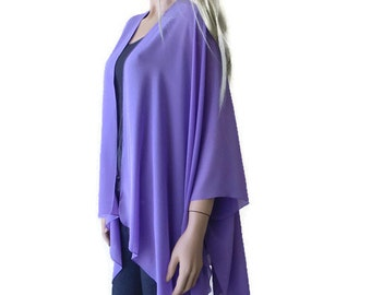 Purple/Violet Boho Kimono/Solid purple Kimono cardigan--Lagenlook chiffon kimono- chiffon jacket-Ruana style