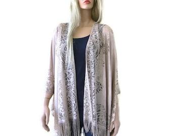 Beige Fringe kimono- Bohemian Lace Kimono -Fringe kimono cardigan-Oversize kimono