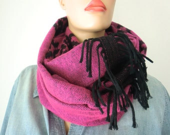 Blanket cowl infinity scarf-pink-black-Tribal-rustic Reversible unisex tribal winter cowl with fringes-dark pink and black-NEW