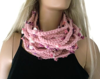 Dusty rose infinity scarf,Unisex  crochet cowl, soft dusty pink, pale pink chain scarf  best friend gift, Bridesmaids gift ,any quantity