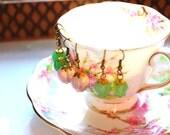 Pastel Drop Earrings - Pink or Green Bead Earrings - Valentine's Gift