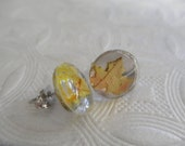 Falling Leaves-Tiny Ombre Yellow Maple Leaf Small Glass Round Post Earrings-Nature's Wearable Art-Autumn Inspired