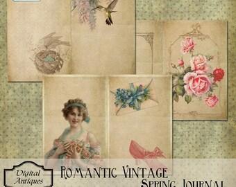 Romantic Vintage Spring Journal Kit Printable Digital Download