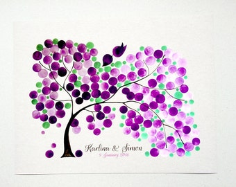 Guest Book Alternative Print Gradient colors - Modern Love Birds Watercolor Reproduction art Poster - SILKY WILLOW TREE