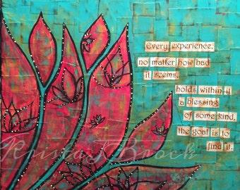 Find The Blessing Buddha quote mixed media collage canvas print mounted in wood