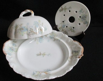 Antique Limoges Fine Porcelain Round Cheese Dish, Covered Butter Dish, 3 Piece Set, Theodore Haviland France