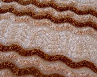 """Vintage chenille bedspread fabric, off-white chenille brown & tan wavy lines, 18"""" x 24"""" - 400-131"""