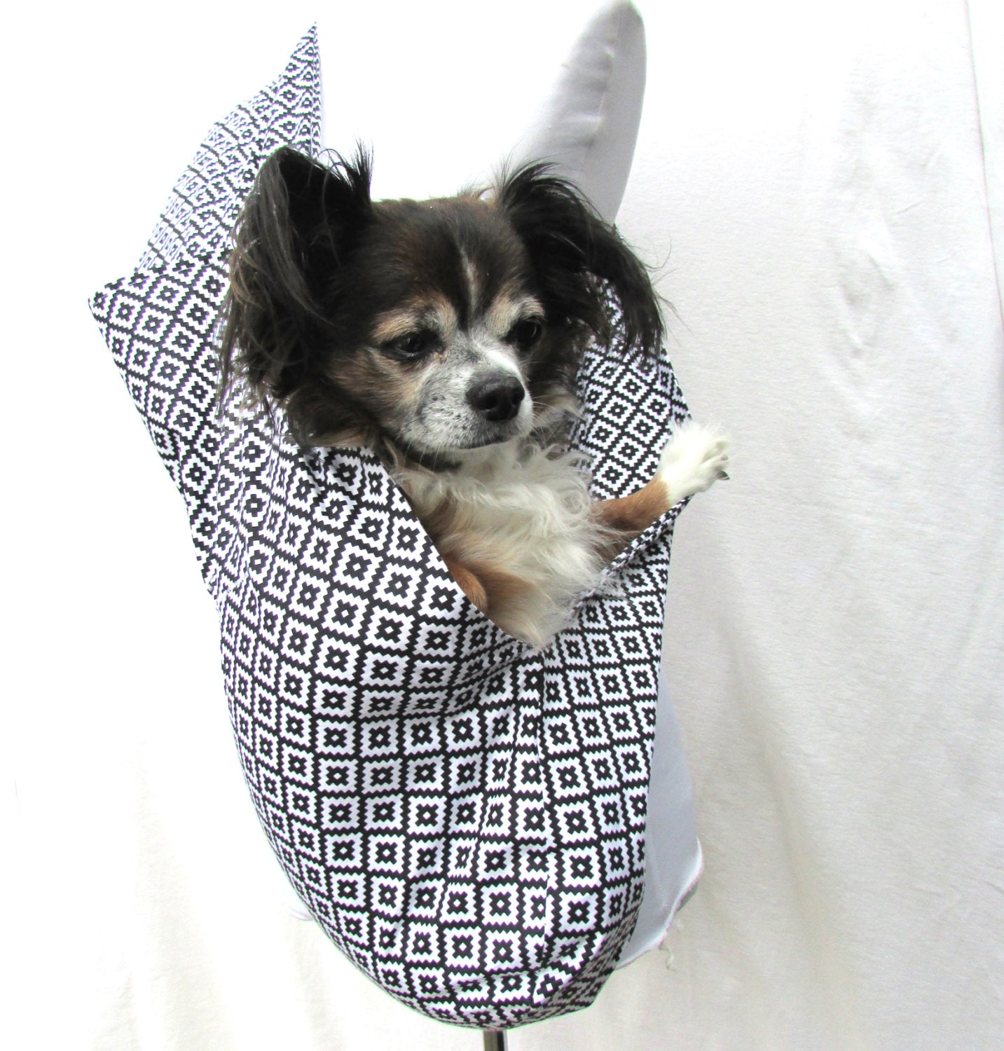 Pet dog sling carrier black and white geometric by cuddlebugg - Dog carrier sling pattern ...