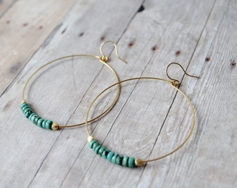 Hoop Earrings, Turquoise Beaded Hoop Earrings, Gold Hoop Earrings, Gold Hoops, Howlite Beads, Gold or Silver Hoops