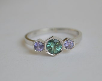 Three Stone Hexagon Ring in Argentium Silver with Green Tourmaline and Tanzanite