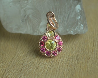 Scalloped Flower Pendant in 14 Kt Rose Gold with Ceylon Sapphire and Burma Spinel