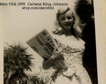 Four Vintage Snapshots of Miss USA 1955 and Miss Universe Pageant Contestants.  Personal Candid Photographs. Estate Find. Miss USA, and More