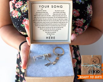 Song in a Bottle Keychain - YOU pick - Silver Music Note charm - Valentine's Day Under 20 - Cute Custom Key Chain - Gift Wrapped Ships Fast!