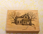 Art Impressions Wood Mounted Rubber Stamp Farm House