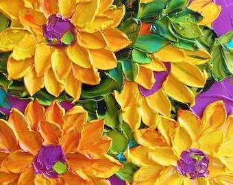 Oil Painting Impasto  oil Art  canvas Yellow Sunflowers