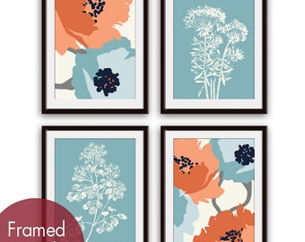 Flower and Geometric Patterns (Series C) Set of 4 - Art Prints (Blue and Sienna scheme) Botanical Art Print