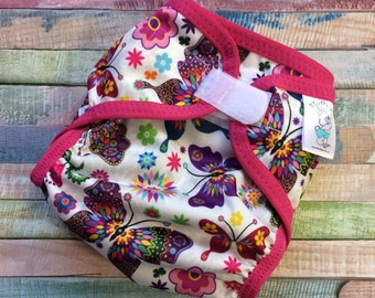 Kaleidoscope Butterfly Poly PUL Cloth Diaper Cover With Aplix Hook & Loop Or Snaps Pick Size XS/Newborn, Small, Medium, Large, or One Size