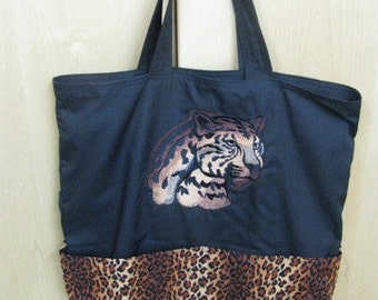 Jungle Cat Leopard Eco Friendly Tote Bag Purse Grocery Bag