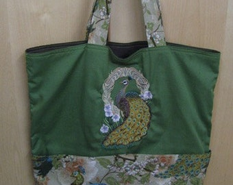 Elegant Detailed Peacock Tote Bag Shopping Bag Diaper Bag
