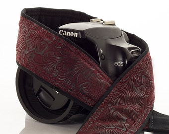 dSLR Camera Strap, Faux Leather Burgundy, Neck Strap, Nikon or Canon Strap, Quick Release, Vegan, Men or Women, Pocket, SLR, 197