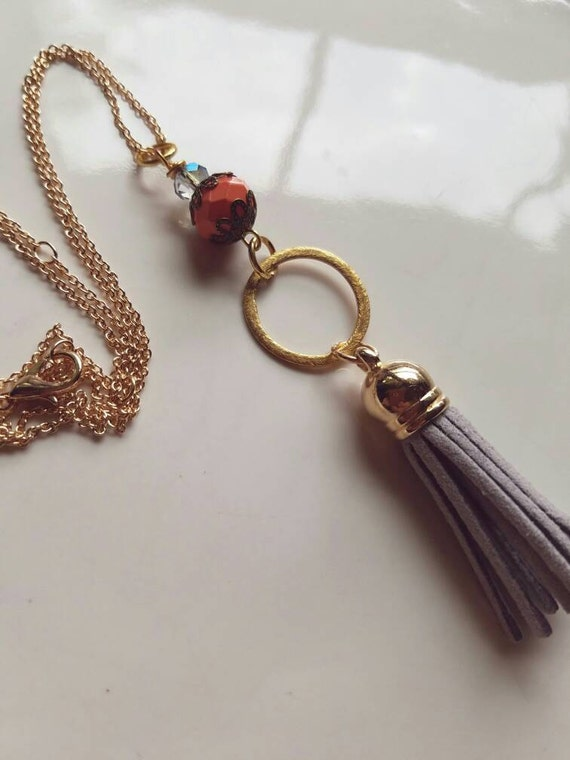 Tassel Necklace, boho tassel necklace, minimalist necklace, tassel pendant, gold pendant, gold minimalist necklace, gift for her