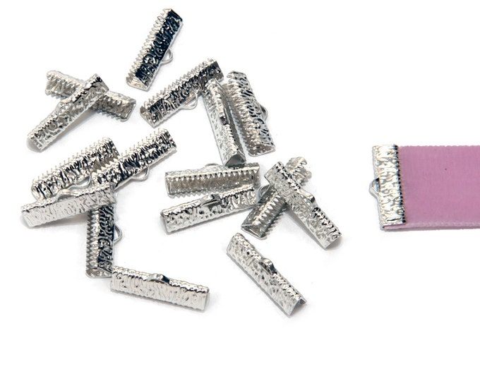 150 pcs.  22mm (7/8 inch)  Platinum Silver Ribbon Clamp End Crimps - Artisan Series