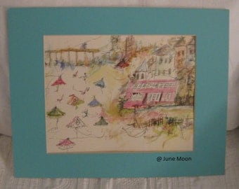 Cottage by the Sea ,a signed Watercolor Print by Artist ,June Moon of Poppy Cottage , Ocean City ,NJ ,Cape May Jersey Shore Coastal