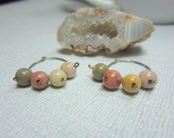 Pastel Imperial Jasper Hoop Earrings, Boho Hoop Earrings, Jasper Hoop Earrings