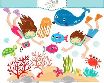 ON SALE Snorkel clip art - Snorkeling kids clip art, fish clip art, sea animal clip art,Scuba diving clip art