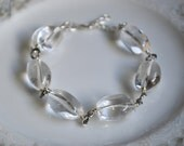 Rock crystal quartz and sterling silver chunky bracelet, rock crystal jewelry