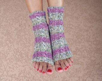 Yoga socks hand knit multicolor toeless socks pilates socks Christmas gift
