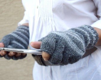 Fingerless gloves grey striped arm warmer gift for her spring fashion
