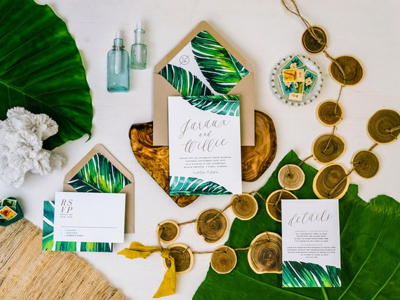 Tropical Wedding Invitations: JARAUX SUITE // Tropical Wedding Invitation By CitrusPressCo
