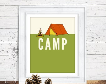 Camping Illustration Art Print Poster - Instant Download 8x10