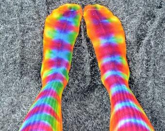 Adult Tie dye bamboo socks, cool socks, rainbow socks, colorful socks, hippie socks, happy socks, happy feet