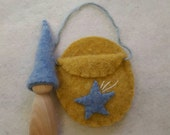 Yellow Shooting Star Gnome Toy, Eco Friendly Wood and Wool Playset