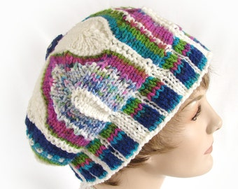 Colorful Knit Hat Woman's Knit Hat Knit Module Hat Multiple Color Knit Hat Hand Knit Winter Hat Women's Colorful Hat Women's Winter Knit Hat