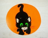 Vintage Halloween Die Cut, Diecut, Black Flocked Cat, Green eyes, Wall Decor, Orange, Small, Round Decoration, Holiday Decor   (862-15)