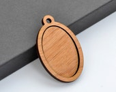 "1"" x 1.5"" Embroidery Hoop Vertical Oval Pendants Large 25mmx38mm Laser Cut from Alder Wood EHPVO-2538-A"