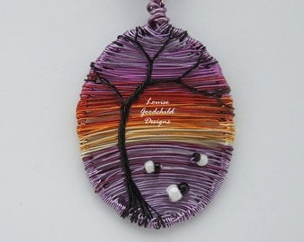 Sheep pendant, sunset sheep, sheep pendant, MADE TO ORDER, purple sunset, colourful sunset, sheep necklace, nature inspired