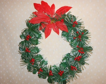 Plastic Holly Poinsettia Holly berries Wreath
