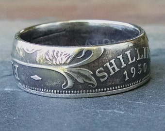 One Shilling Coin Ring - 1950 1 Shilling Coin Ring from East Africa - Size: 8 1/2