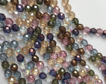 8mm Mix Color Transparent Luster Fire Polish Beads, Mixed Colors Bead Strands, 25 pieces per Strand