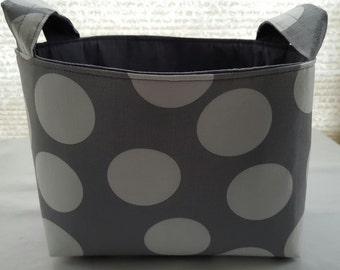 Fabric Organizer Storage Container - Large Polka Dots Gray  Basket Bin Caddy Storage