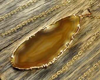 Agate Necklace, Agate Pendant, Brown Agate Jewelry, Light Brown Agate Pendant, Agate Slice Necklace,Agate Gold Necklace, 14k Gold ...