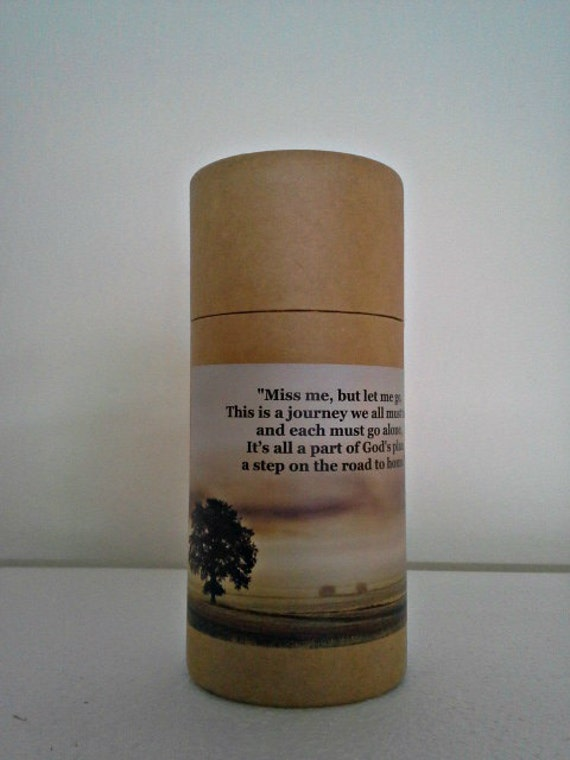 """Eco-Friendly Cremation Urn Scattering Tube w/Telescopic Lid - Natural/Biodegradable - Style """"Hallowed Ground"""""""
