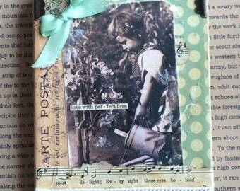 Vintage Photo Child With Watering Can Mixed Media Collage Wall Hanging