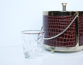Mid Century Ice Bucket, Gold Accents with Brown Alligator