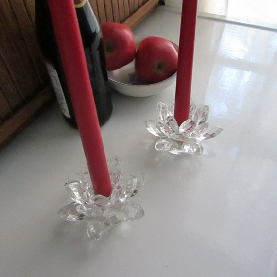 Shannon Crystal Lotus Blossom Candle Holders For Taper Candles